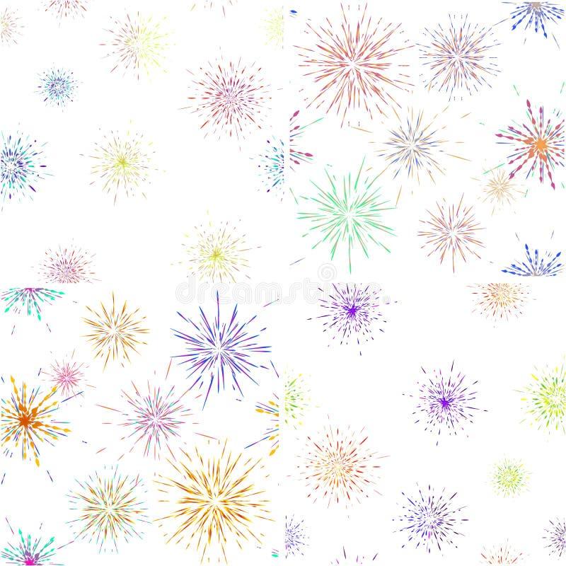 Разрывать набор картины лучей безшовный Взрыв фейерверков иллюстрация штока