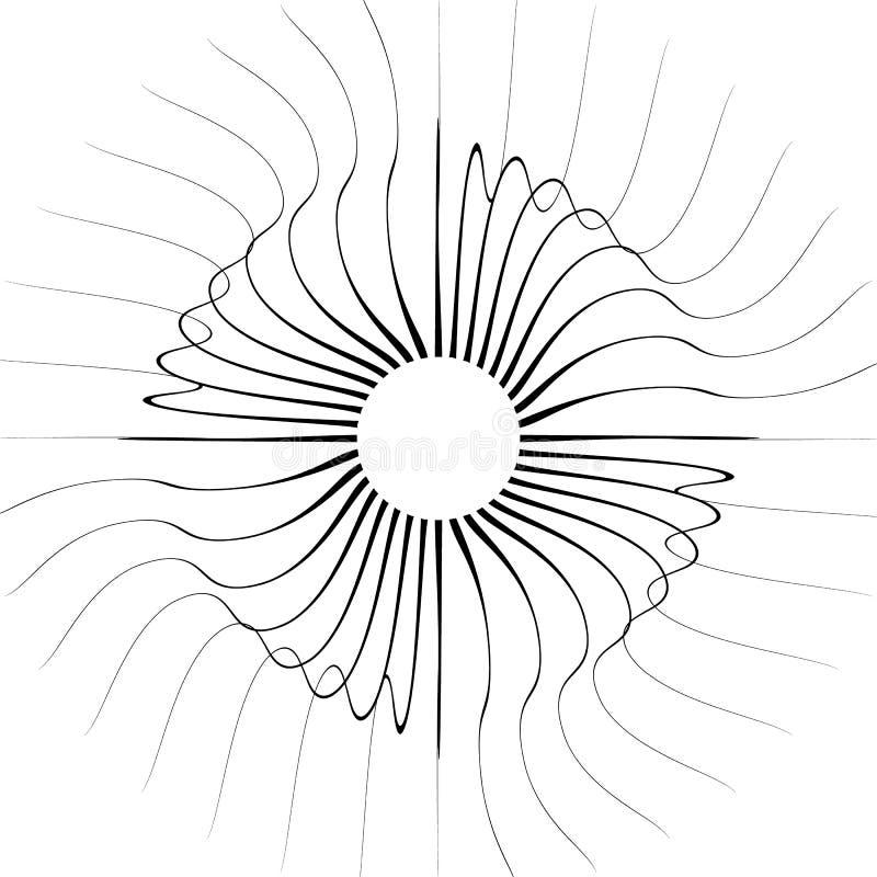 Разрывать радиальные линии Передернутые лучи, illustrati лучей абстрактное иллюстрация вектора