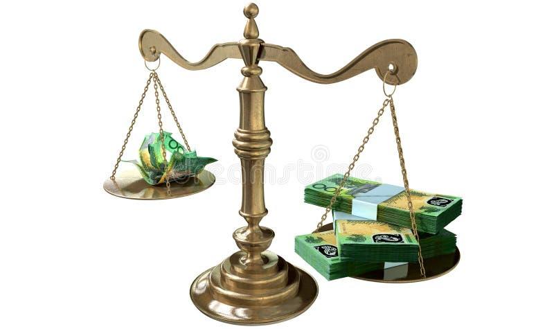 Разрыв доходов Австралия весов правосудия неравенства иллюстрация штока