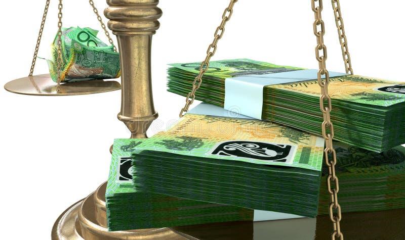 Разрыв доходов Австралия весов правосудия неравенства иллюстрация вектора