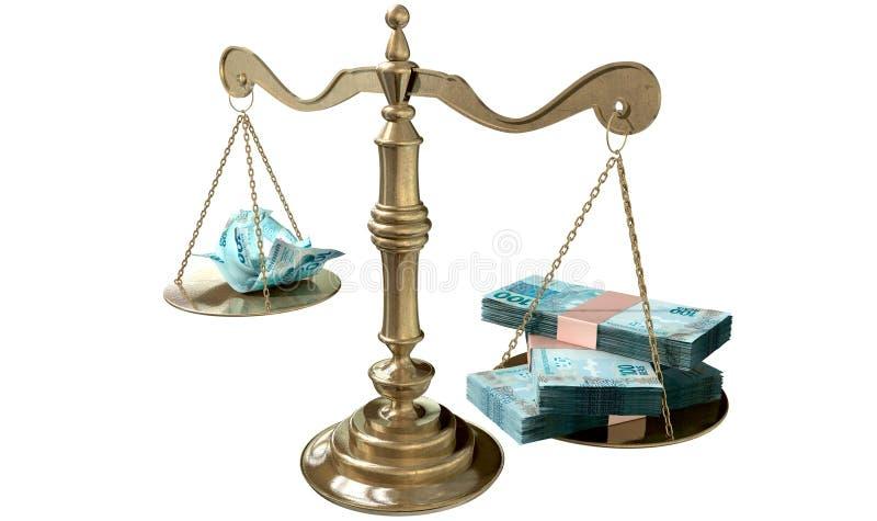 Разрыв доходов Бразилия весов правосудия неравенства иллюстрация вектора
