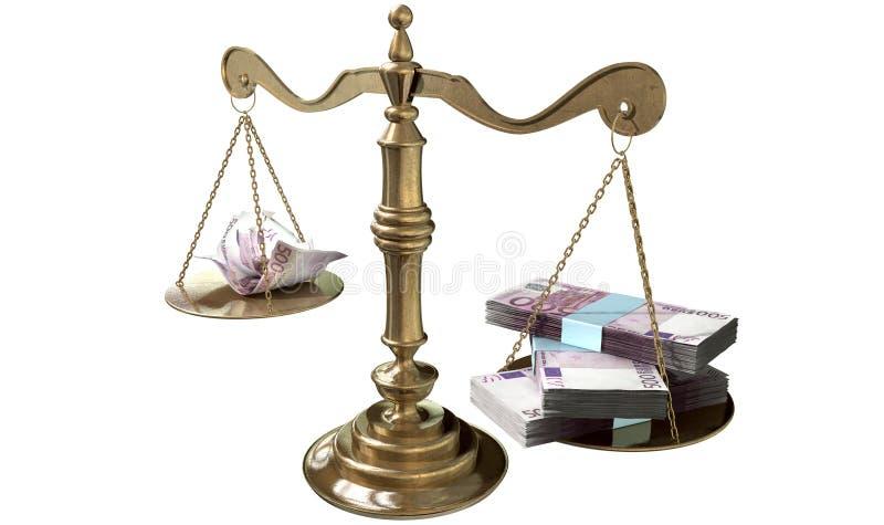 Разрыв доходов Европа весов правосудия неравенства иллюстрация вектора
