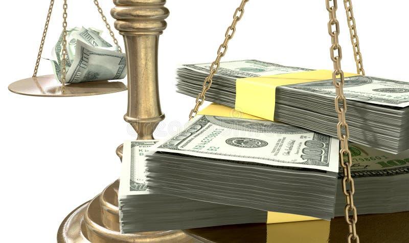 Разрыв доходов США весов правосудия неравенства иллюстрация вектора