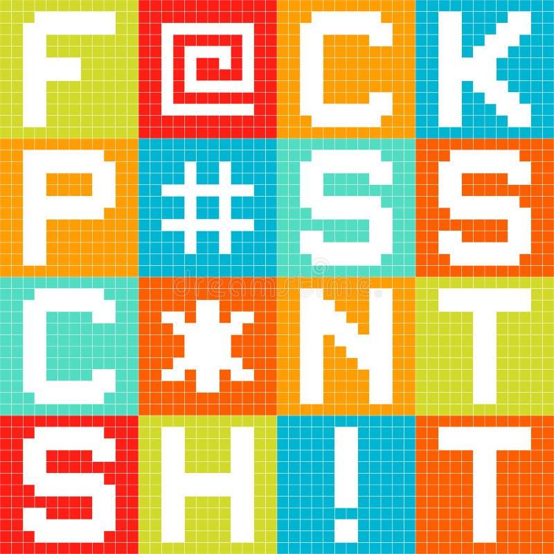 8-разрядные бранные слова пиксела 4-Letter в квадратах иллюстрация вектора