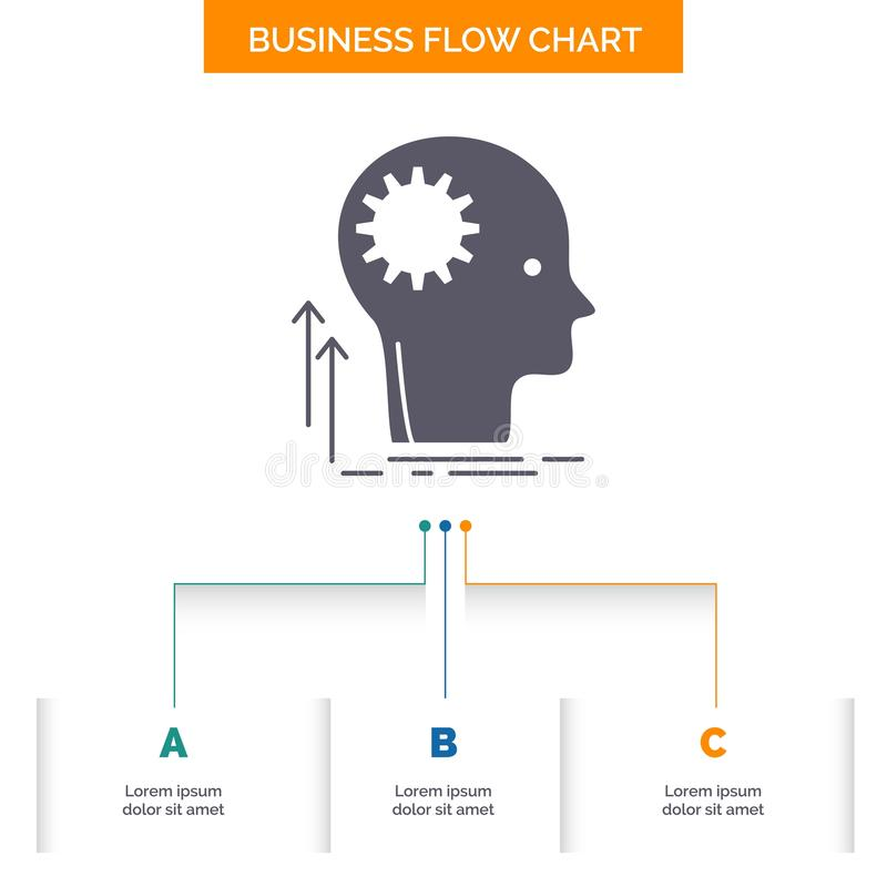 Разум, творческий, думая, идея, коллективно обсуждать дизайн графика течения дела с 3 шагами r иллюстрация вектора