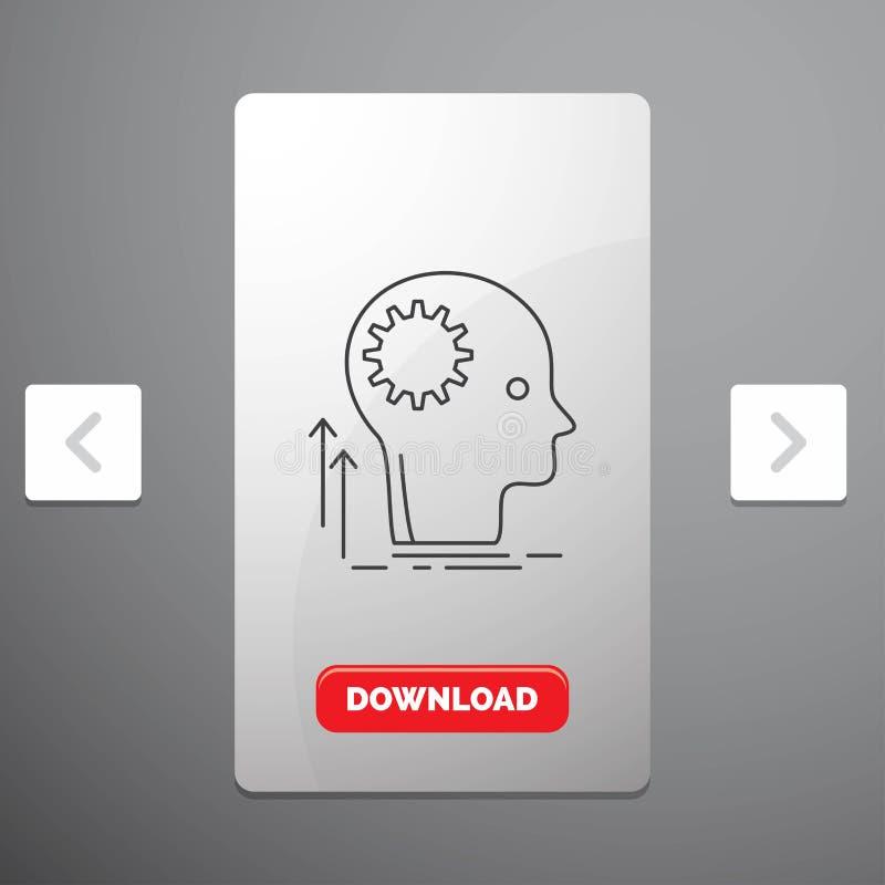 Разум, творческий, мысль, идея, коллективно обсуждать линию значок в дизайне слайдера пагинаций Carousal & красной кнопке загрузк иллюстрация штока