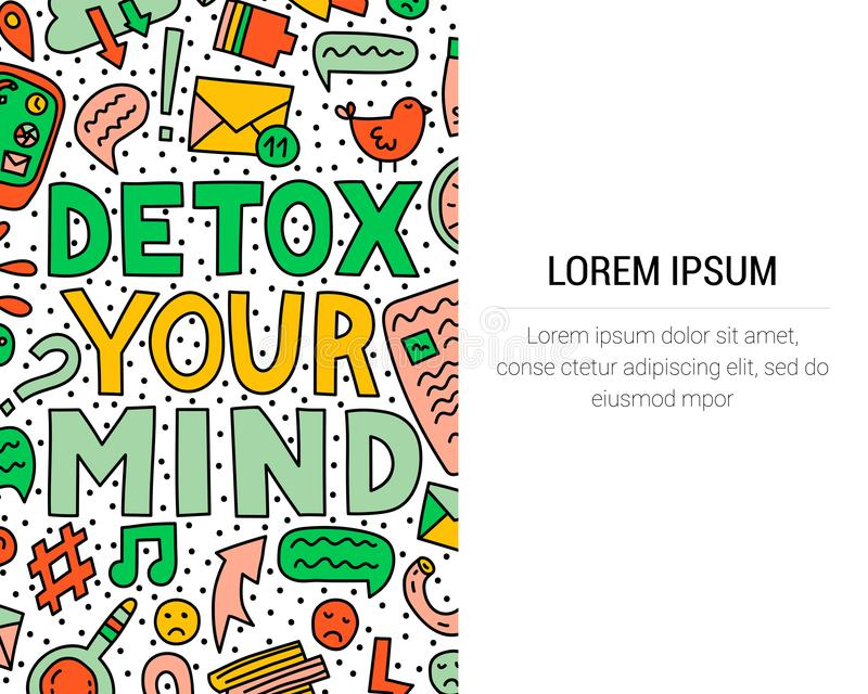 разум detox ваш Иллюстрация концепции с литерностью и doodles бесплатная иллюстрация