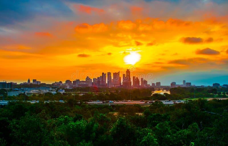 Раз в восходе солнца Остине Техасе продолжительности жизни совершенном стоковая фотография rf