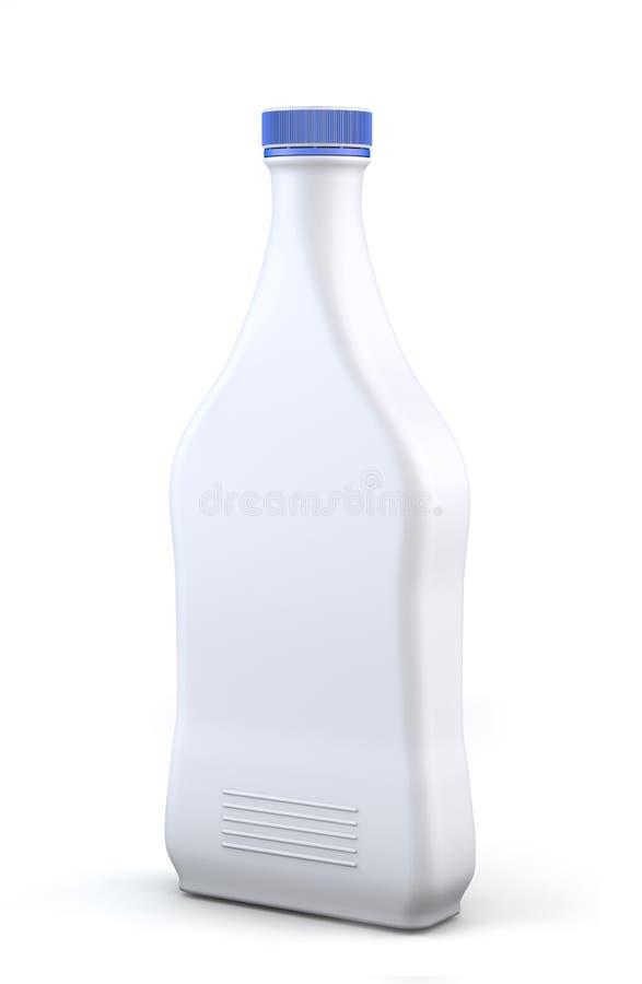 разлейте пластичную белизну по бутылкам стоковое изображение