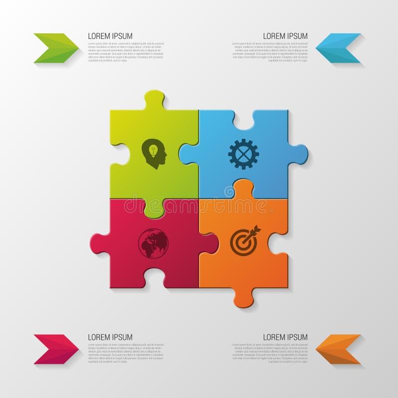 раздел головоломки части фокуса более низкий Современная концепция дела infographics также вектор иллюстрации притяжки corel иллюстрация штока