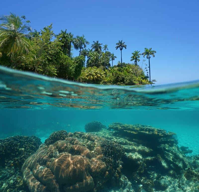 Разделенная съемка тропических острова и кораллового рифа стоковая фотография