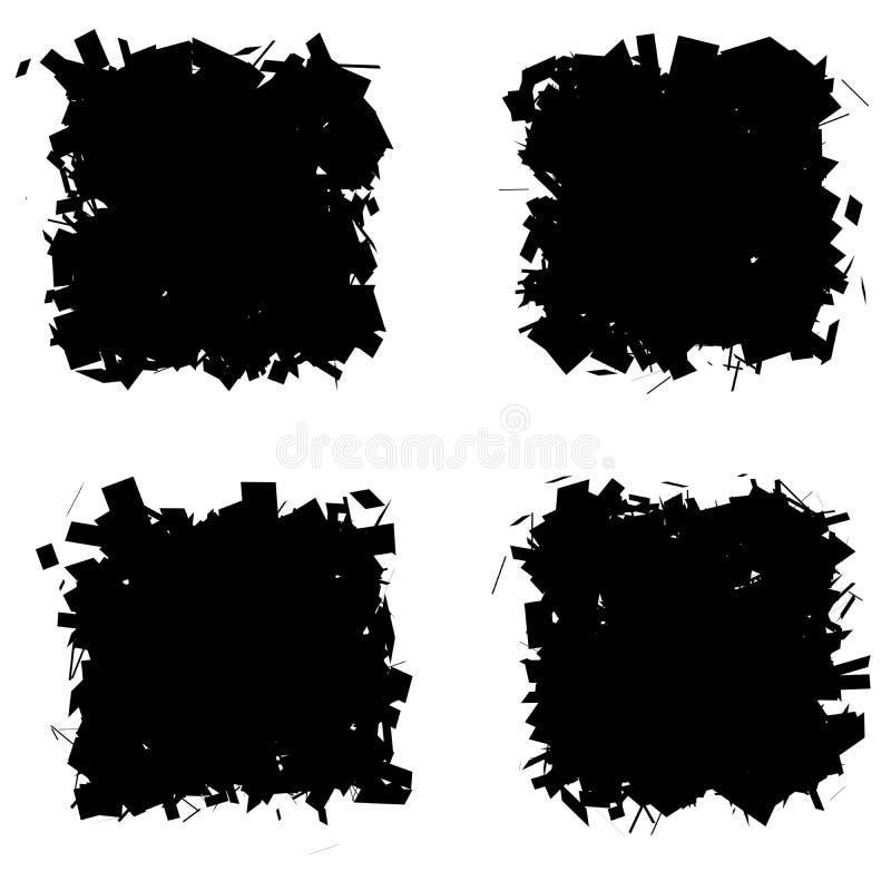 Разделенная черная рамка квадрата собрания силуэта над белизной иллюстрация вектора