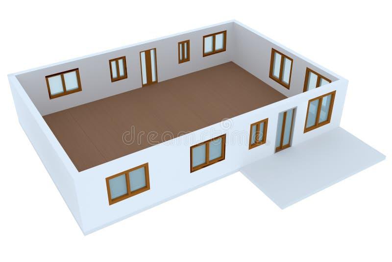 раздел перекрестного изображения дома 3d селитебный иллюстрация штока
