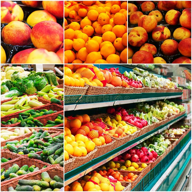 Различная бакалея shelves вполне фрукта и овоща, коллажа colorized фото стоковые фото