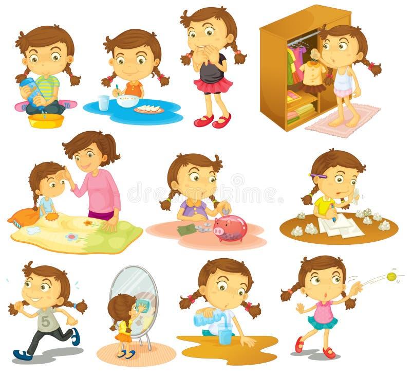 Различная деятельность маленькой девочки иллюстрация вектора