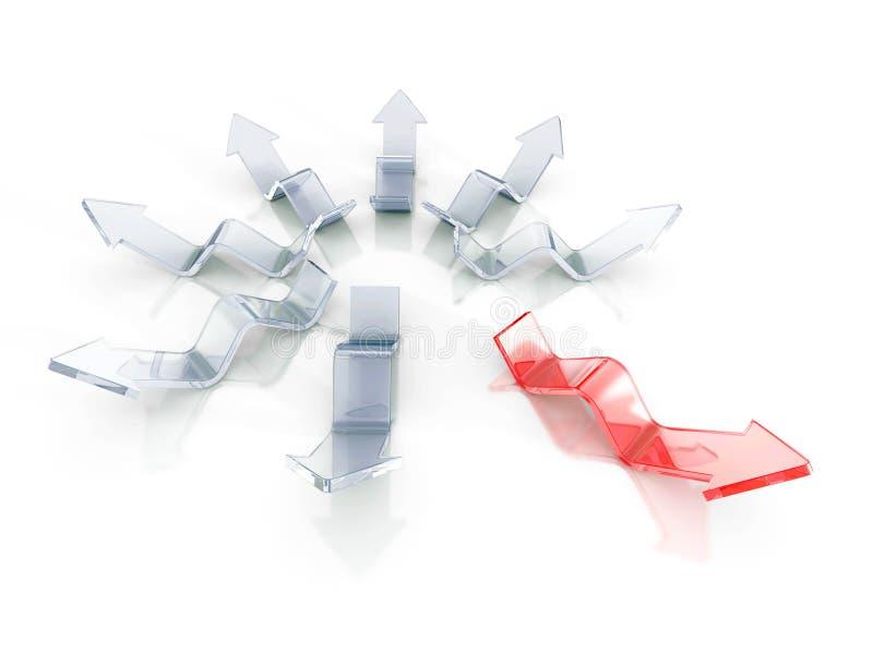 Различная красная стрелка руководителя вне от стеклянной группы шарики габаритные 3 иллюстрация вектора