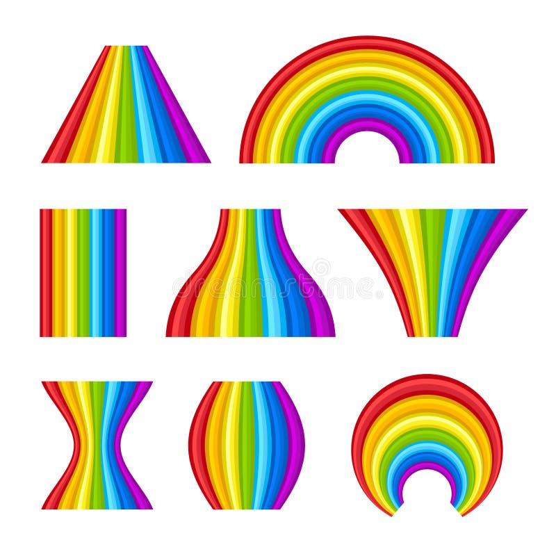 Различная форма комплекта радуг на белой предпосылке вектор иллюстрация штока