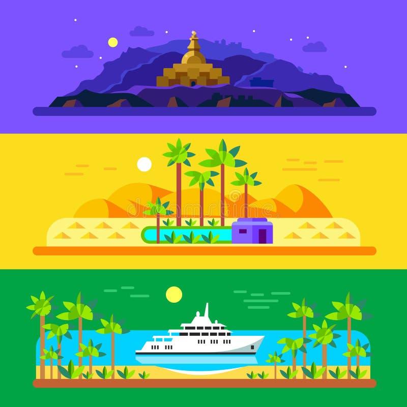 Различные ландшафты иллюстрация вектора