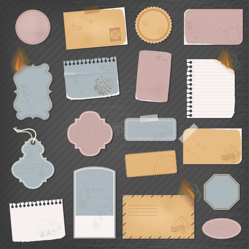 Различные бумажные объекты иллюстрация вектора