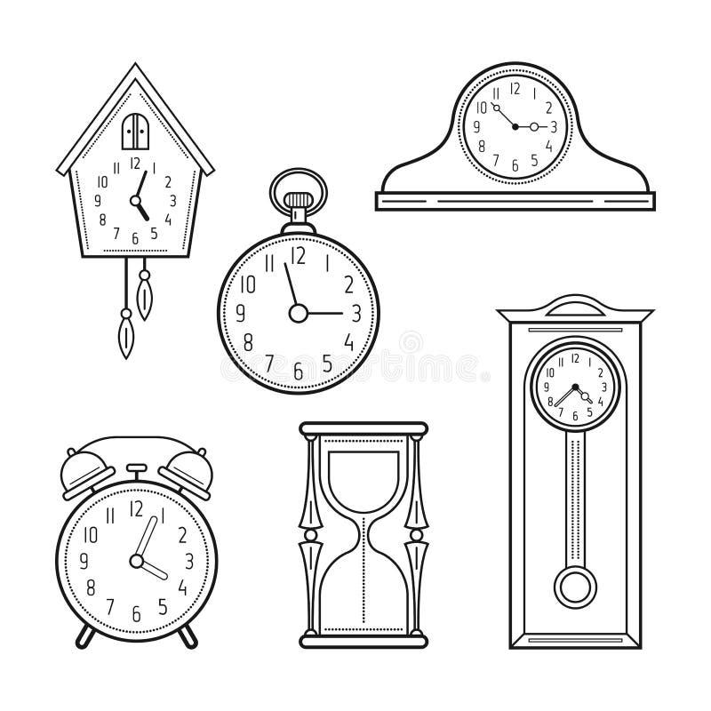 Различные виды вахт Линейные значки, объекты вектор бесплатная иллюстрация