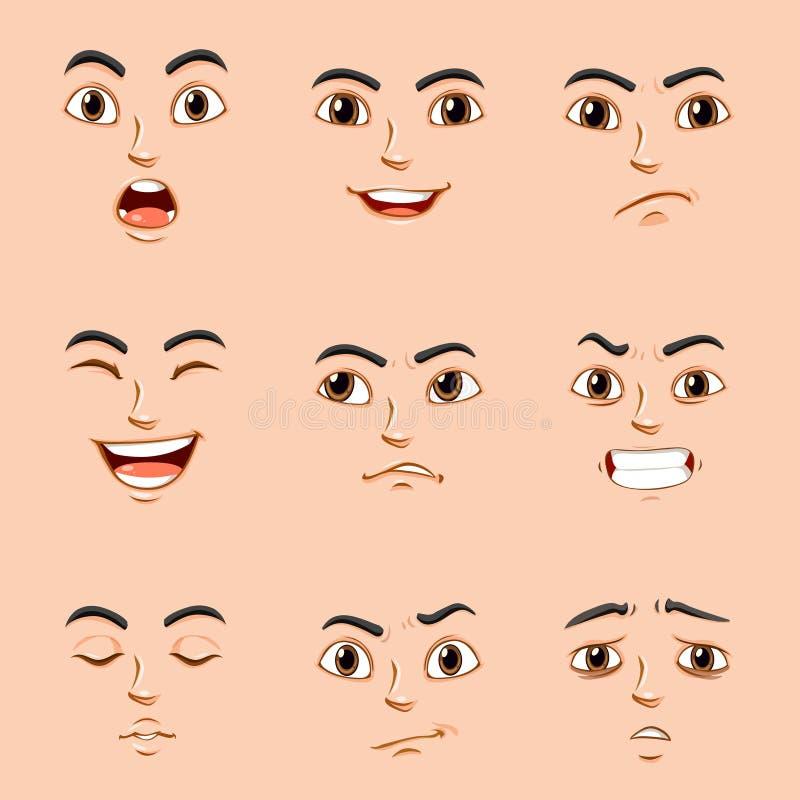 Различные выражения лица человека иллюстрация вектора