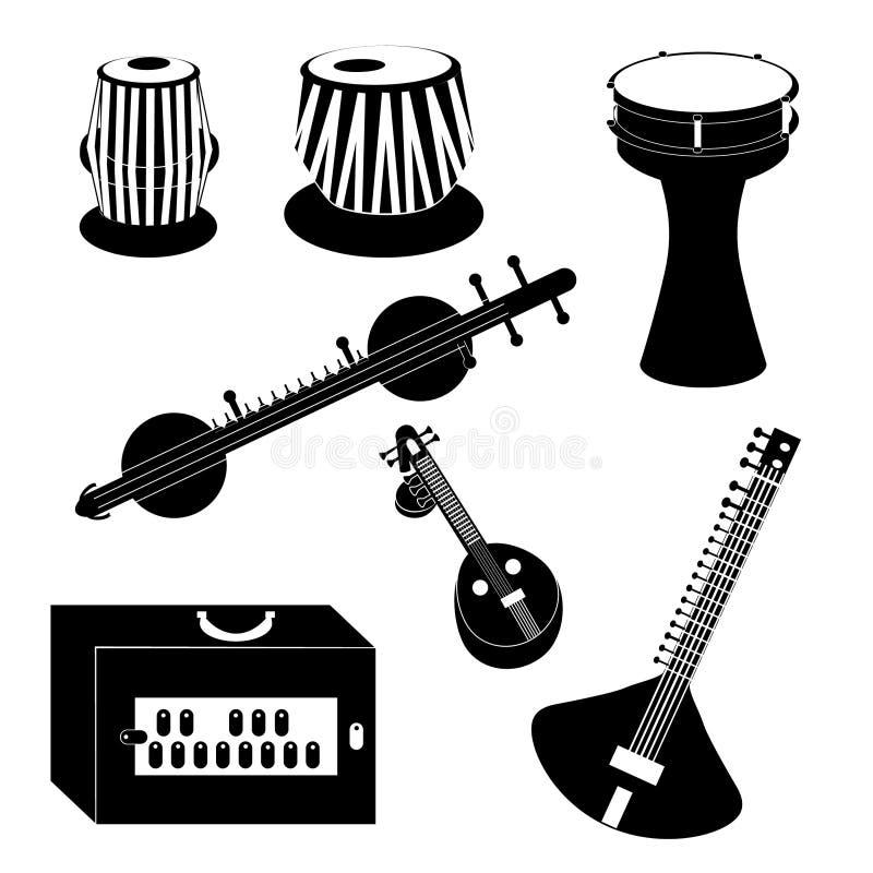 Различные индийские и турецкие музыкальные инструменты стоковое изображение rf