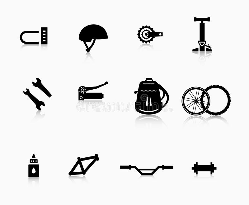 Различные компоненты и аксессуары для велосипеда иллюстрация штока