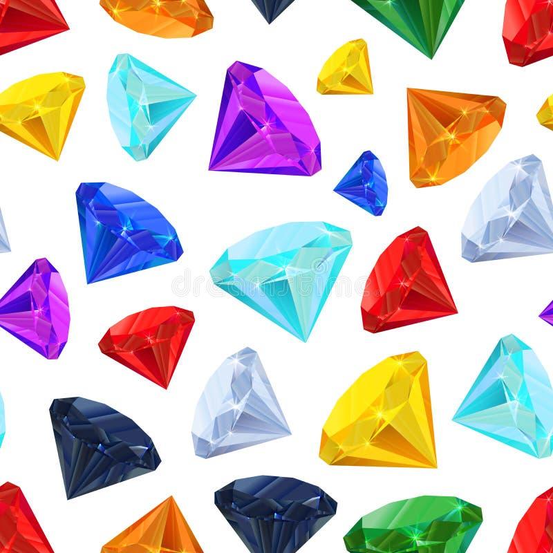 Различные красочные драгоценные камни, безшовная картина иллюстрация вектора