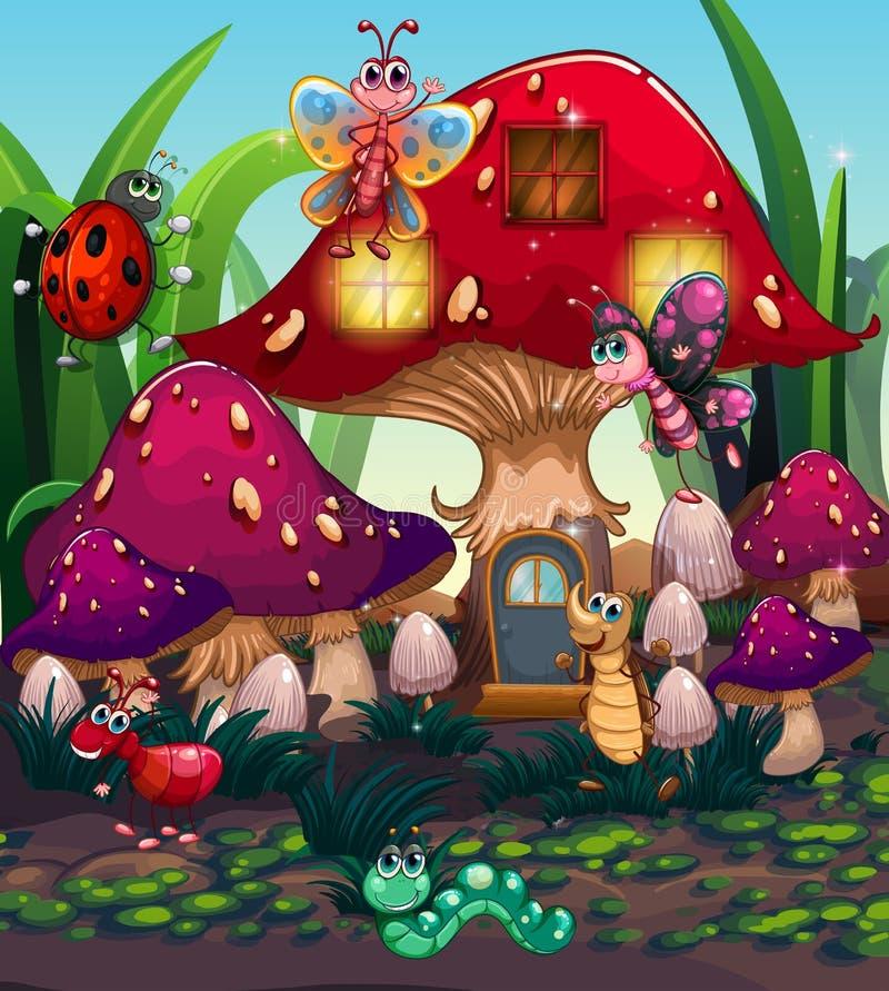 Различные насекомые живя в доме гриба бесплатная иллюстрация