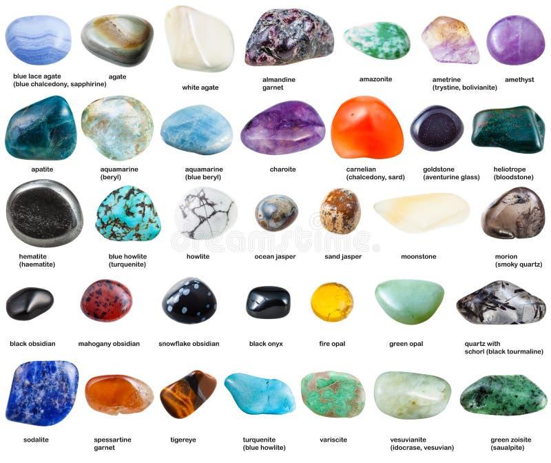 Различные отполированные изолированные драгоценные камни с именами стоковое изображение