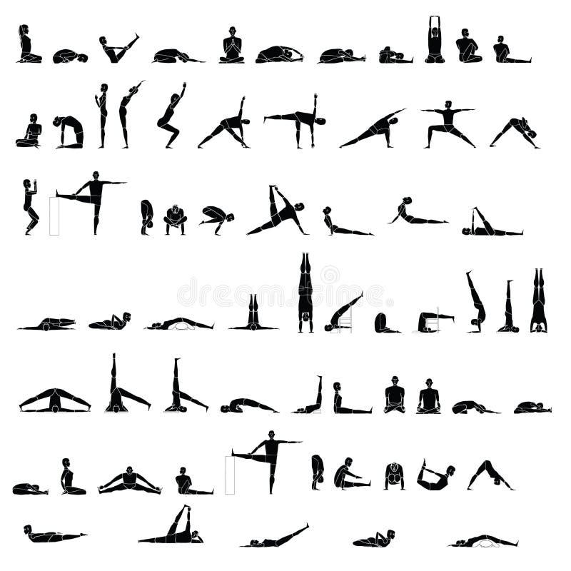 Различные представления йоги и протягивать стоковые фотографии rf