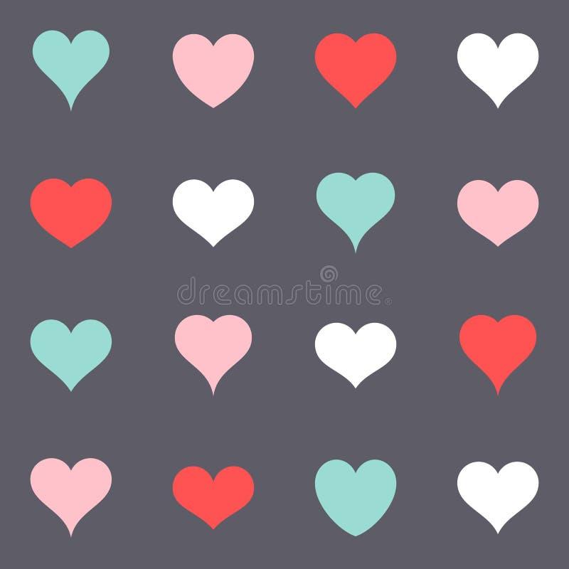 Различные простые красочные значки сердца вектора иллюстрация штока