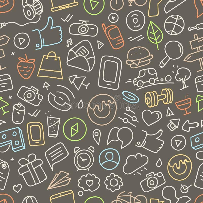 Различные силуэты doodle интерфейса сети бесплатная иллюстрация