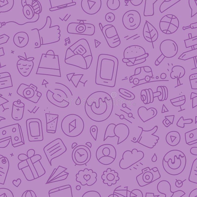 Различные силуэты doodle интерфейса сети иллюстрация штока