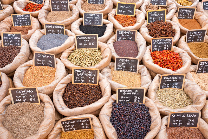 Рынок специи стоковое изображение