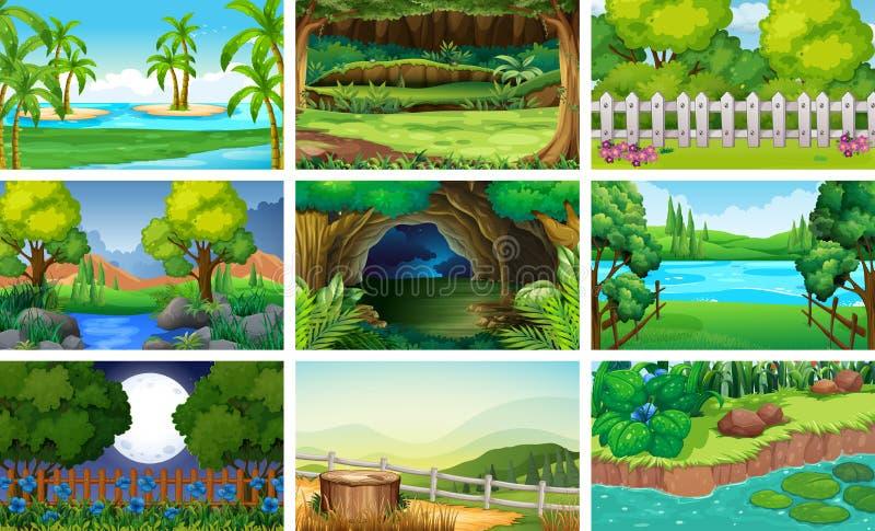 Различные сцены леса и реки бесплатная иллюстрация