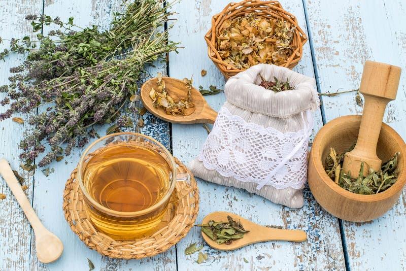 Различные травы луга и травяной чай стоковые фото
