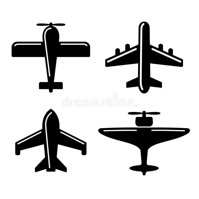 Различные установленные значки самолета вектор иллюстрация штока