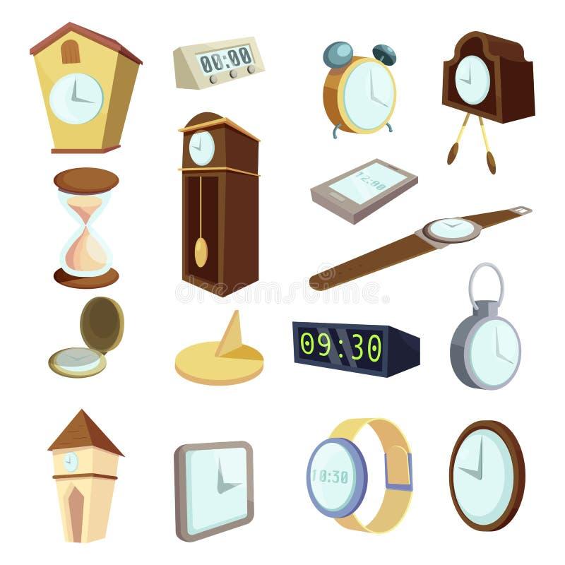 Различные установленные значки, стиль часов шаржа бесплатная иллюстрация