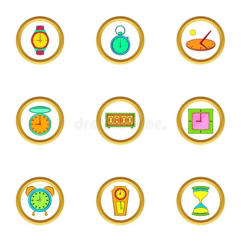 Различные установленные значки, стиль часов шаржа иллюстрация вектора
