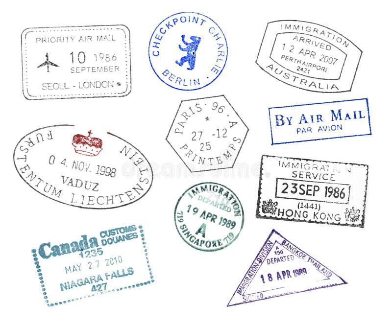 Различные штемпеля пасспорта стран иллюстрация вектора