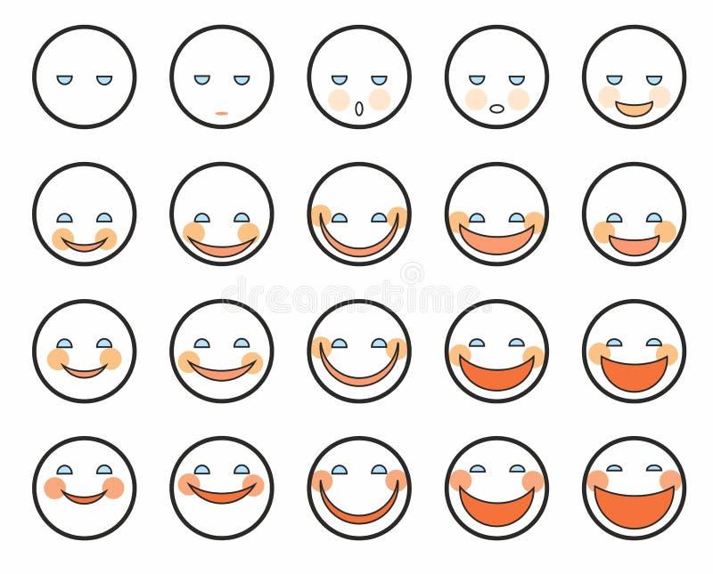 Различные эмоции, стороны, значки иллюстрация штока