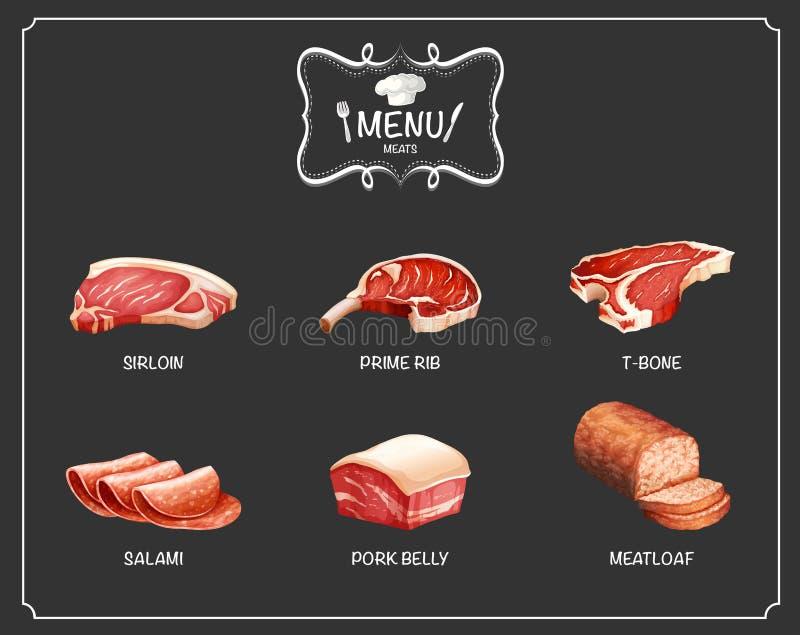 Различный вид мяса на меню иллюстрация штока