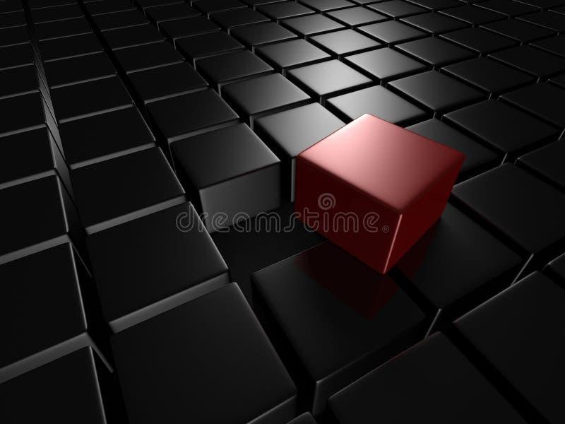 Различный красный куб вне от темной металлической группы иллюстрация вектора