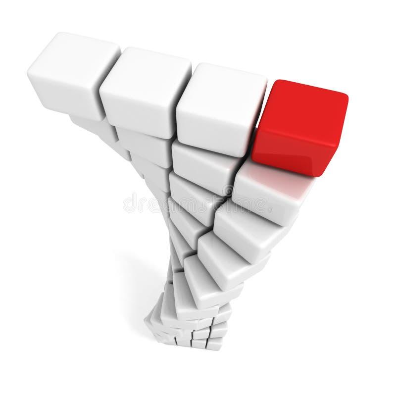 Различный красный куб na górze белой башни иллюстрация штока