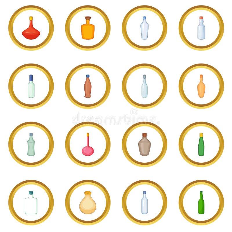 Различный круг значков бутылок иллюстрация вектора