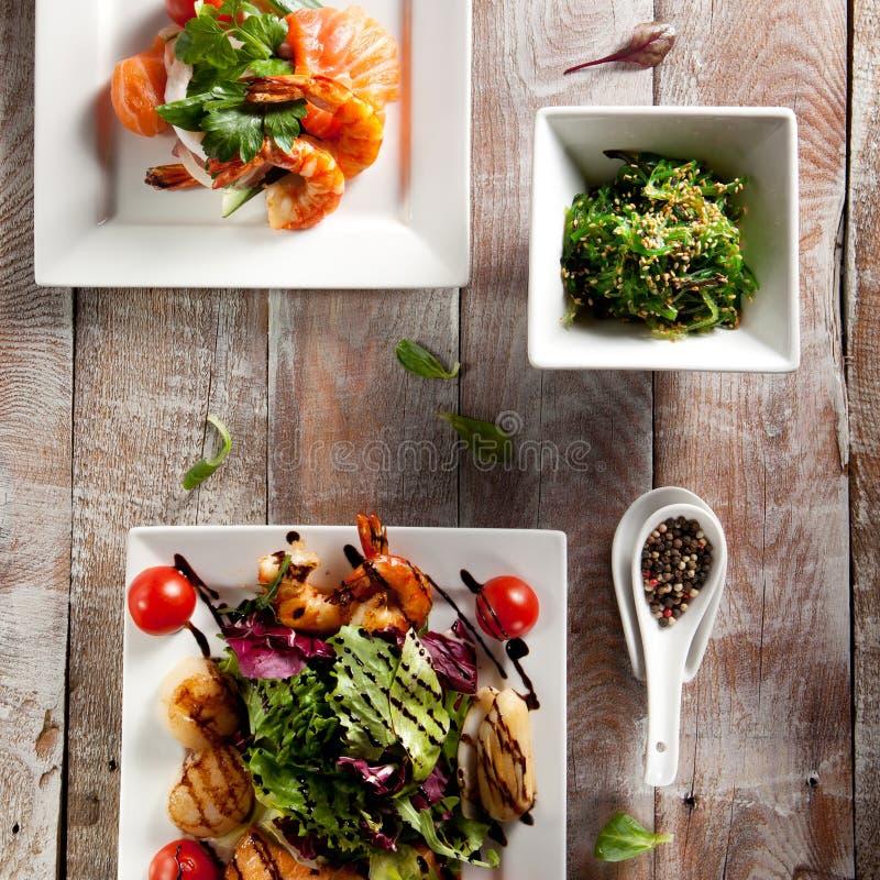 Различный салат морепродуктов стоковое изображение