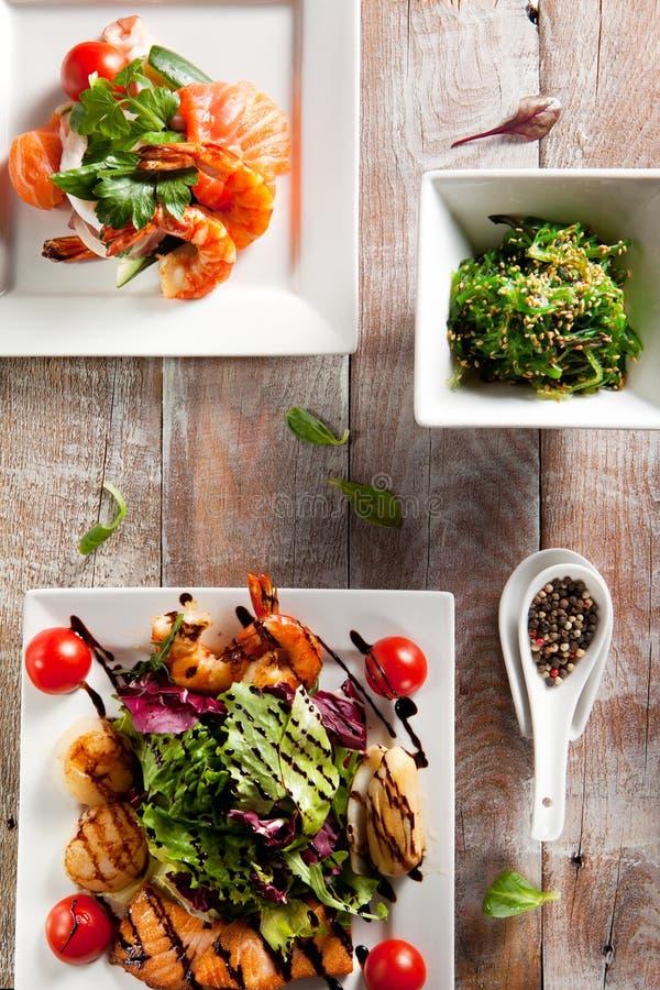 Различный салат морепродуктов стоковые фото