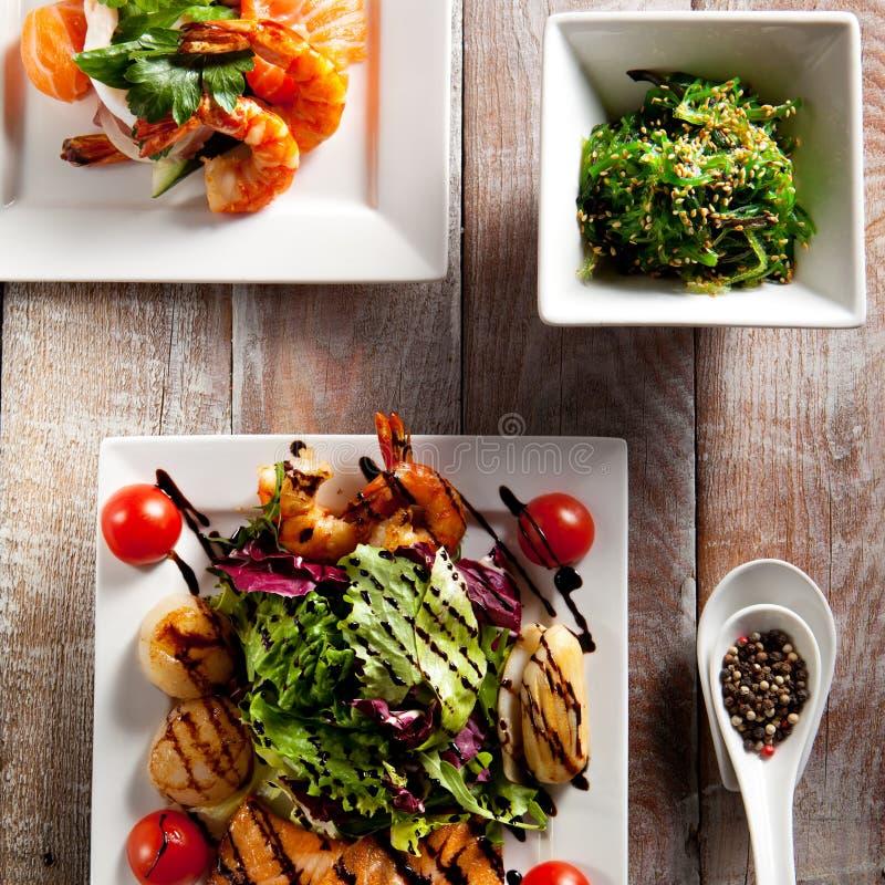 Различный салат морепродуктов стоковые изображения rf