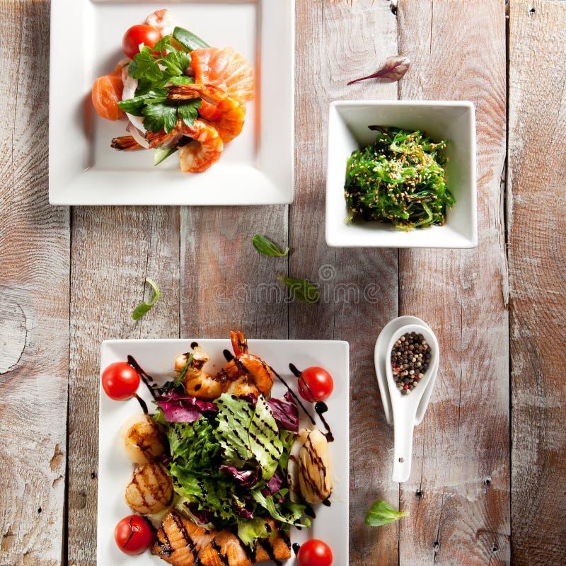 Различный салат морепродуктов стоковое изображение rf